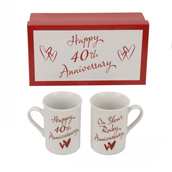 Anniversary Gift Set Of 2 Mugs 40th