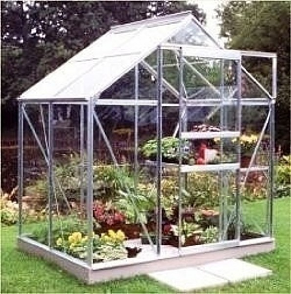 ALUMINIUM POPULAR 4ft x 6ft GREENHOUSE with HORTICULTURAL GLASS