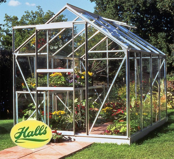 ALUMINIUM POPULAR 8ft x 6ft GREENHOUSE with TOUGHENED GLASS