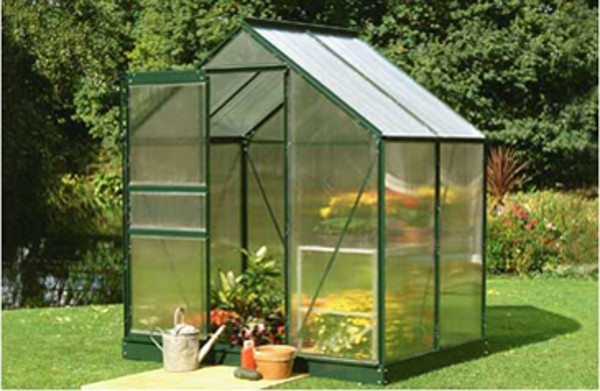 ALUMINIUM POPULAR 4ft x 6ft GREENHOUSE with POLYCARBONATE GLAZING