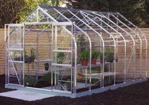 ALUMINIUM SUPREME 12ft x 8ft DOUBLE DOOR GREENHOUSE with TOUGHENED GLASS
