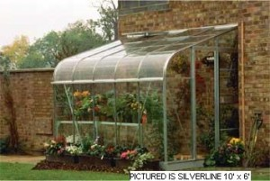 ALUMINIUM SILVERLINE 12ft x 6ft LEAN TO with HORTICULTURAL GLASS