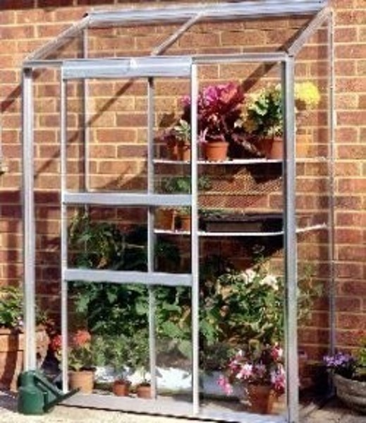 ALUMINIUM WALL GARDEN 4ft x 2ft LEAN TO with TOUGHENED GLASS